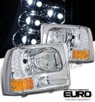 2002 Ford Excursion Clear Euro Headlights with LED