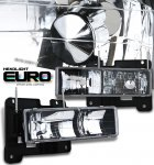 Chevy Full Size Pickup 1988-1998 Black Euro Headlights