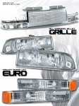 2002 Chevy S10 Chrome Billet Grille and Clear Euro Headlights Set