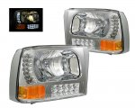 2000 Ford F250 Super Duty Clear Euro Headlights with LED