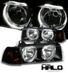 1996 BMW E36 Coupe 3 Series Black Halo Euro Headlights and Smoked Corner Lights Set