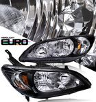 Honda Civic 2004-2005 JDM Black Euro Headlights