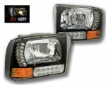 2001 Ford Excursion Black Euro Headlights with LED