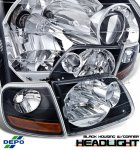 2002 Ford F150 Depo Black Euro Headlights