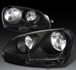 VW Rabbit 2006-2009 Depo Black Euro Headlights