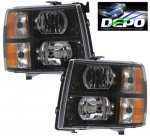 2007 Chevy Silverado 2500HD Black Euro Headlights