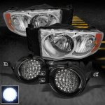 2002 Dodge Ram Clear Euro Headlights and LED Fog Lights