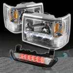 Jeep Grand Cherokee 1993-1998 Clear Euro Headlights and LED Third Brake Light