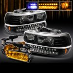 2001 Chevy Silverado Black Headlights and Bumper Lights with Fog Lights