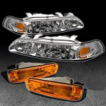 Acura Integra 1990-1991 Clear Euro Headlights and Bumper Lights Set