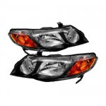 Honda Civic Sedan 2006-2008 Black Euro Headlights