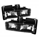 Chevy 1500 Pickup 1988-1998 Black Crystal Euro Headlights