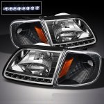 1999 Ford F150 Black Euro Headlights with LED and Corner Lights Set