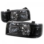 Ford F250 1992-1996 Black Euro Headlights with LED