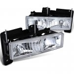 1998 Chevy 3500 Pickup Clear Crystal Euro Headlights