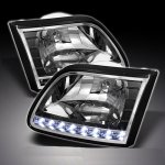 Ford Expedition 1997-2002 Black Euro Headlights with LED DRL