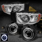 2002 Dodge Ram Clear Euro Headlights and Halo Projector Fog Lights