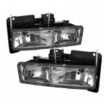 Chevy 1500 Pickup 1988-1998 Clear Crystal Euro Headlights