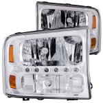2002 Ford F250 Super Duty Clear Crystal Headlights with LED