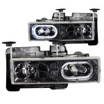 GMC Suburban 1992-1999 Carbon Euro Headlights with Halo