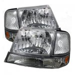 Ford Ranger 1998-2000 Clear Euro Headlights and Bumper Lights