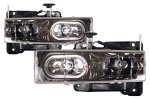1998 Chevy Silverado Black Crystal Euro Headlights with Halo