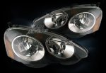 2004 Acura RSX Black Euro Headlights with Chrome Trim