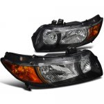 2007 Honda Civic Coupe Black Custom Headlights