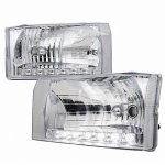 2002 Ford F250 Super Duty Chrome Euro Headlights LED
