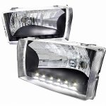 2002 Ford F250 Super Duty Black Euro Headlights LED