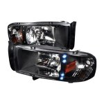1998 Dodge Ram Black Crystal Headlights with LED