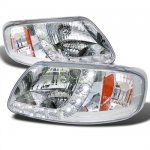 Ford Expedition 1997-2002 Crystal Headlights Chrome LED DRL