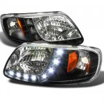 2002 Ford F150 Crystal Headlights Black LED DRL