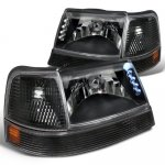 Ford Ranger 1998-2000 Black Euro Headlights with LED and Bumper Lights Set