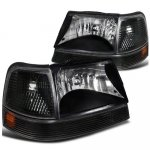 Ford Ranger 1998-2000 Black Euro Headlights and Bumper Lights Set