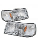 Ford Ranger 1993-1997 Chrome Headlights One Piece