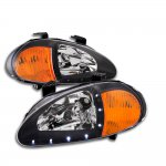 1996 Honda Del Sol Black Euro Headlights with LED DRL
