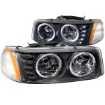 GMC Yukon XL Denali 2001-2006 Black Crystal Headlights with Halo and LED