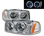 GMC Sierra 2500 1999-2004 Chrome Crystal Headlights with Halo and LED