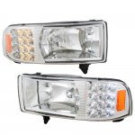 1997 Dodge Ram Clear Euro Headlights with LED Corner Lights