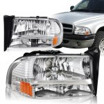 Dodge Dakota 1997-2004 Chrome Headlights One Piece