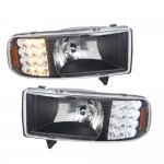 1997 Dodge Ram Black Euro Headlights with LED Corner Lights
