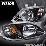 Honda Civic 1999-2000 Headlights with Black Housing