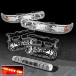 2002 Chevy Silverado Clear LED Third Brake Light and Bumper Lights with Fog Lights