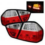 2007 BMW 3 Series E90 Sedan Red and Clear LED Tail Lights