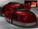 VW Golf 2010-2012 Red and Smoked LED Tail Lights
