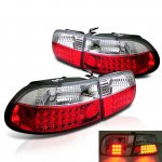 Honda Civic Hatchback 1992-1995 Red and Clear LED Tail Lights