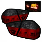 2007 BMW 3 Series E90 Sedan Red and Smoked LED Tail Lights