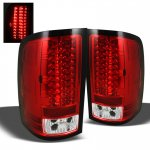 GMC Sierra 3500HD 2007-2013 Red and Clear LED Tail Lights