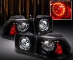 Honda Civic Coupe 1996-2000 Black LED Tail Lights